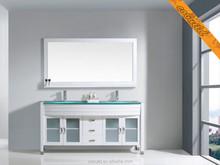 Double glass top solid wood bathroom vanity set (BEL007A)