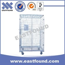 Transport Wire Industrial Roller Cage, 4 Wheels Steel Trolley Cart