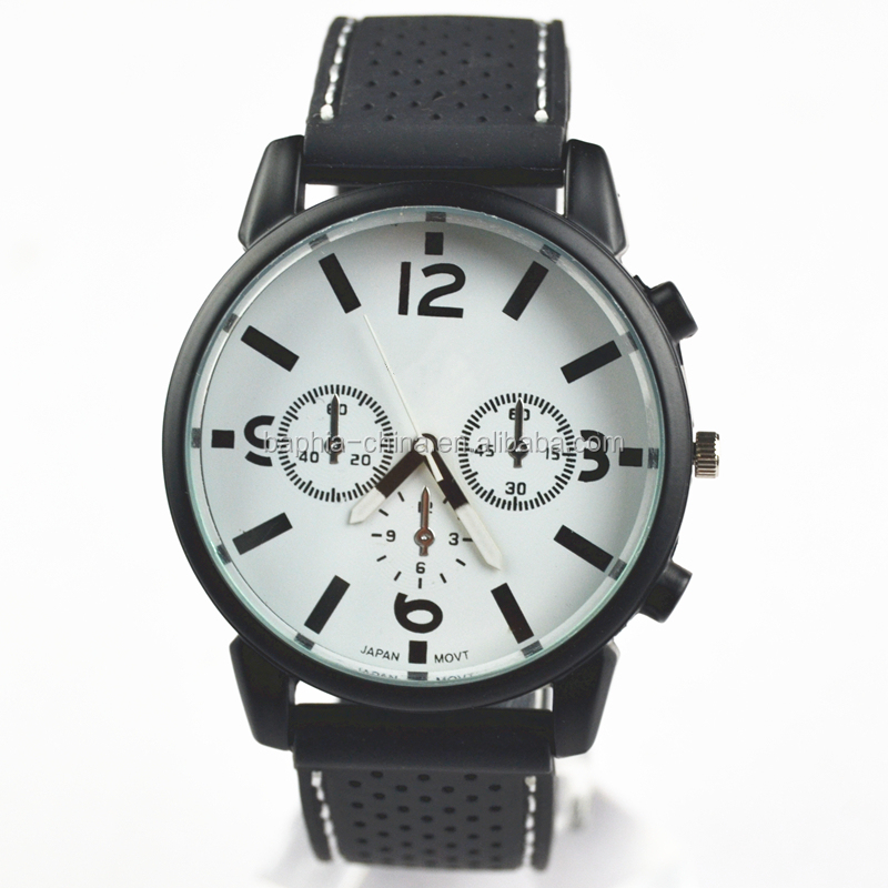 mens black silicone band mens unique big watches for