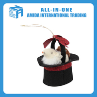 High quality customized Christmas hat mice small hanging ornament