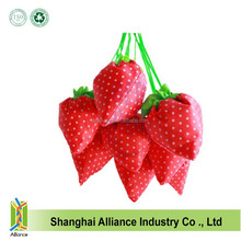 Eco-friendly recyclable strawberry folding shopping tote bag