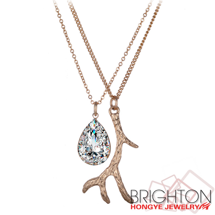 Luck Branch And Crystal Mix Charm Necklace K14230