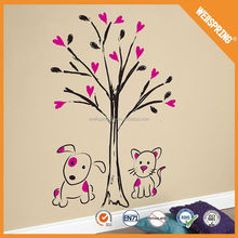 2015 self-adhesive newest cat flap butterfly and tree wall sticker