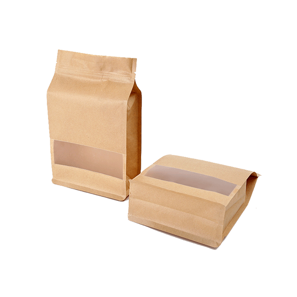 Block Bottom Paper Bag With Window