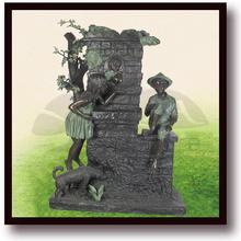 life size boy and girl playing drive a car bronze statue