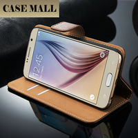 New arrival Smooth Leather Wallet Case For Samsung Galaxy,wallet for Samsung S6 Case