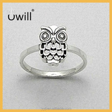 Animal Ring Jewelry 925 Sterling Silver Plated Children Jewelry Simple Design Owl Rings Wholesale Kids Animal Ring
