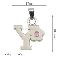 China manufacturer custom zinc alloy pink rhinestone flower letter style Y pendant link chain necklace jewelry