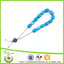 13 bead natural turquoise blue barrel howlite stone custom Greek worry beads, Komboloi, Koboloi