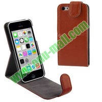 High Quality Vertical Leather Flip Case for iPhone 5C with Credit Card Slot & Holder