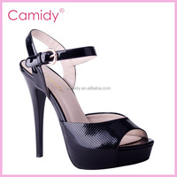 European Sexy Lady's Open Toe Platform Pumps 12cm Stiletto high heels women sandals