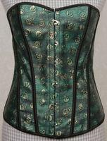 green skull leather corset steel boned tight lacing