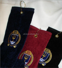Customized golf towel with grommet and hook bulk buy from china
