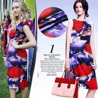 016 Rose Digital Printed elastic satin silk fabric