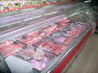 fresh meat display refrigerater meat shop equipment with counter