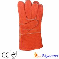 Orange long cuff buffalo leather work gloves