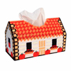 Plastic & Cotton Cross Stitch Tissue Box Multicolor House Pattern 24cm x 14.5cm,1Set