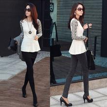 nueva moda mujer slim camisa de encaje de empalme manga larga cuello redondo t tops blusas para mujer G0141