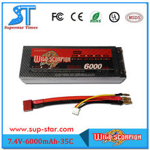 Excellent Quality Wild Scorpion Rechargeable 6000mAh 2S 35C rc lipo car battery