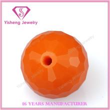 2015 Artistic Glass Gemstones Ball Machinery Cut with Hole Orange