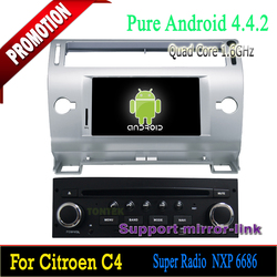 2 years warranty Car with bluetooth hands-free Quad Core 7 inch 1 din android car dvd player for Citroen C4 2004-2010 Can-bus