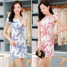 WA1356 2015 summer fashion retro blue and white Chinese cheongsam dresses for women