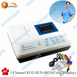 digital ecg 3 channel & color display ECG monitor
