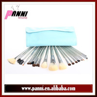 Dazzling cosmetic brushes 23pcs goat, nylon, pony hair brushes set in baby blue pouch
