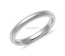 High Polish Wedding Ring With Fine Edge Raised Center Band