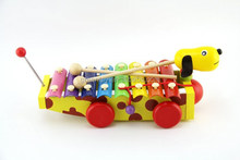 Kids wooden dog pull toy xylophone drag toy