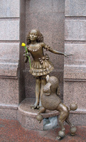 city landscape lovely casting brass dog with a beautiful girl statue