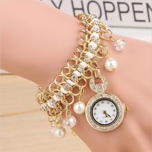 Fashion full of diamond locking brand pearl dial gold watch