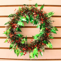 Alibaba china factory wholesale green christmas wreath 12 inch lowes plastic christmas wreaths decor