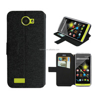 black wallet leather case for archos 50 diamond factory price with high quality