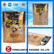 customized plastic rice and chicken food bag/ meals packaging bag