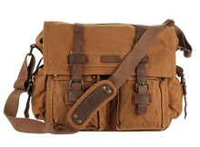 9005B JMD Canvas With Crazy Horse Leather Straps Hiking Men Messenger Canvas Tote Bag
