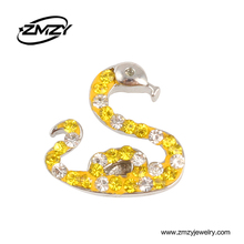 Wholesale Best Selling Silver Plated Snake Shaped Snap Button Charms With Ginger Crystal Clasps Mix Color Jewelry