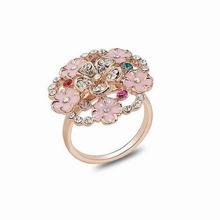 Fashion gold rose flower shaped diamond engagement ring