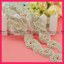wholesale cheap custom iron on rhinestone appliques for bridal wedding accessory WRA-344
