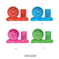 Office and School Desktop Plastic Alarm Clock with Pen Holder