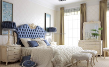 French Style Upholstered Bedroom Furniture, Solid Wood Frame High Head Board Bedroom Furniture