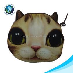 BSCI factory women's Fashion clutch coin purse bag wallet cat bag