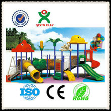 CE certificate childrens playground equipment, plastic swing and slide, cheap outdoor playsets for kids /QX-11021B