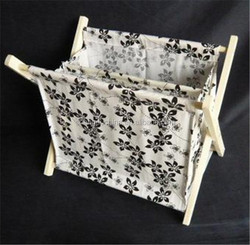 Factory price foldable wooden newspaper holder with fabric wholesale
