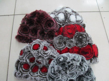 beanie hat and scarves for women/animal fur hood hat/2012 winter fur fashion hat