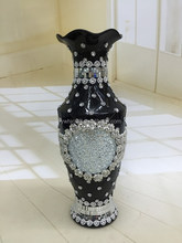 Best fashion hot sales ceramic flower vase with jewel diamod for decorative