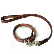 Dog Leash high-end leather chain large dog leash with collar Dog