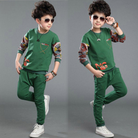 New Autumn Boys Black Clothing Sets Kids Casual Wear With Floral Sleeve Fashion Children Wear CS81107-58