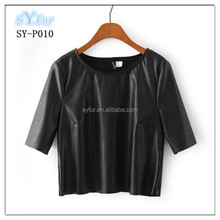 fashion girls slim short PU leather jacket with short sleeve and women's sexy jacket coat