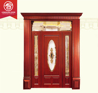 Quality Door Supplier, Custom Residential Double Exterior Wood Doors with Glass, 100% Solid Wood